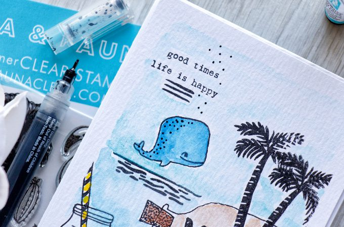 Flora & Fauna | Stamped & Watercolored Sea Scene Card