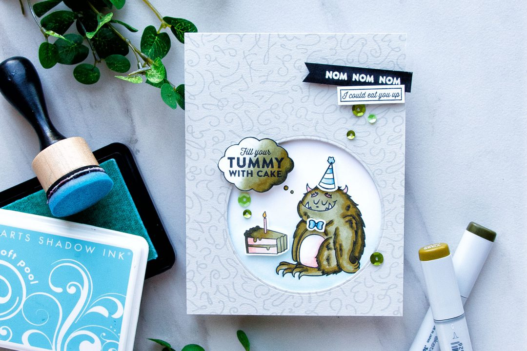 Hero Arts | Fill Tummy With Cake - Monster Birthday Card