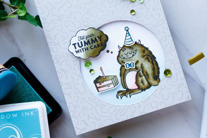 Hero Arts | Fill Tummy With Cake - Monster Birthday Card