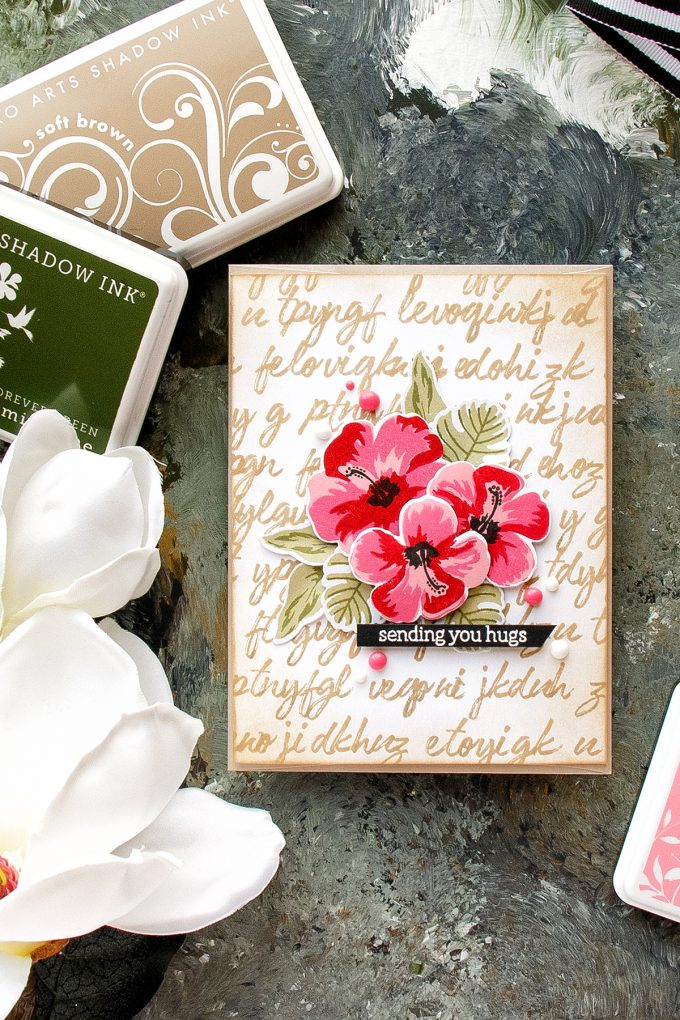 Hero Arts | Illegible Writing Background card by Yana Smakula for Hero Arts. Video Tutorial using CM161 Brushstroke Alphabet and Hibiscus Flowers