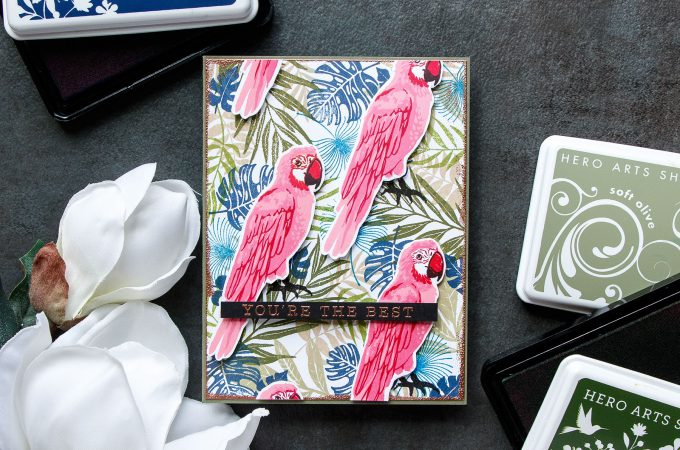 Hero Arts | Tropical Pattern 2.0 - You're The Best Card using Color Layering Parrot. Project by Yana Smakula