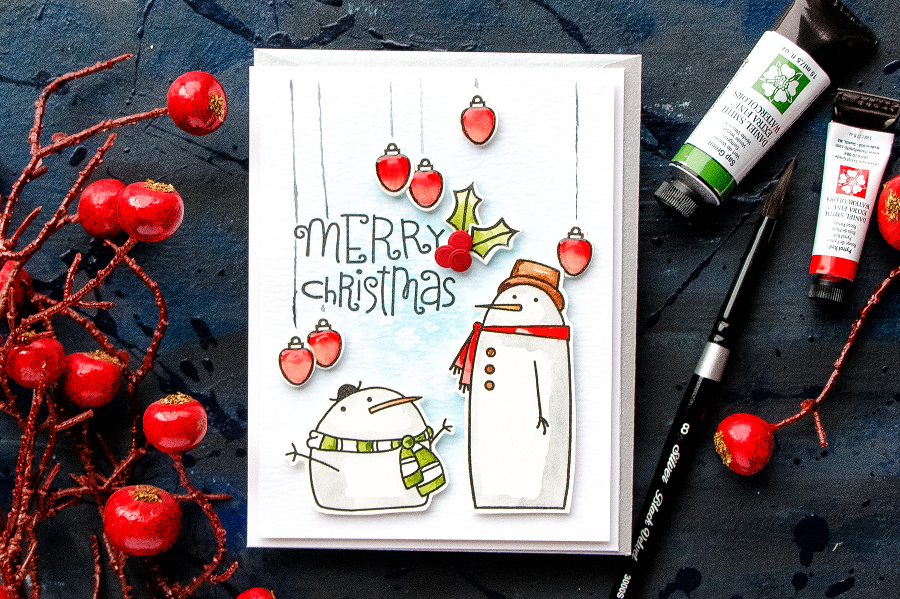 Paper Smooches   Christmas in July! Merry Christmas Watercolor Card ...