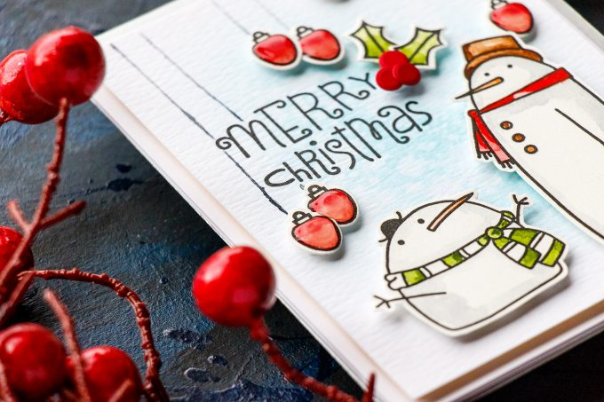 Paper Smooches | Christmas in July! Merry Christmas Watercolor Card. Blog Hop + Giveaway