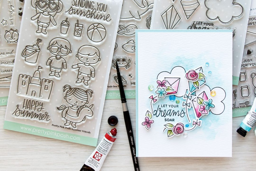 Pretty Pink Posh | Let Your Dreams Soar Watercolor Card by Yana Smakula using Fly a Kite and Bold Blooms stamp sets