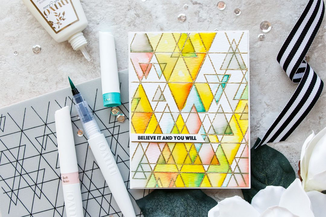 Simon Says Stamp | Believe It And You Will - Geometric Watecolor & Glaze Background