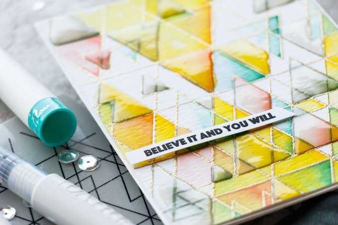 Simon Says Stamp | Believe It And You Will - Geometric Watercolor & Glaze Background