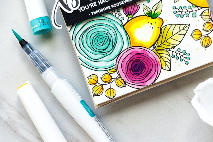 Simon Says Stamp | Stamped & Watercolor Pattern with Nuvo Aqua Flow Pens. Video tutorial by Yana Smakula. Using Simon Says Stamp Sketch Ranunculus & Dancing Fruits Stamp sets