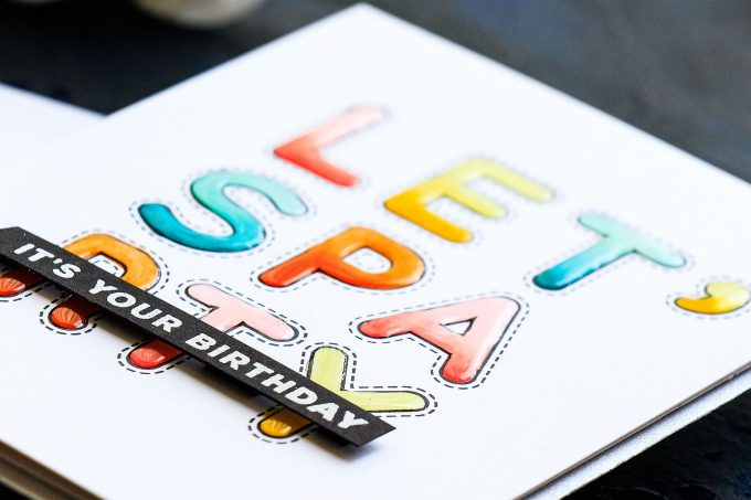 Simon Says Stamp | Colorful Birthday Cards with Stitched Alphabet stamps. Video tutorial by Yana Smakula