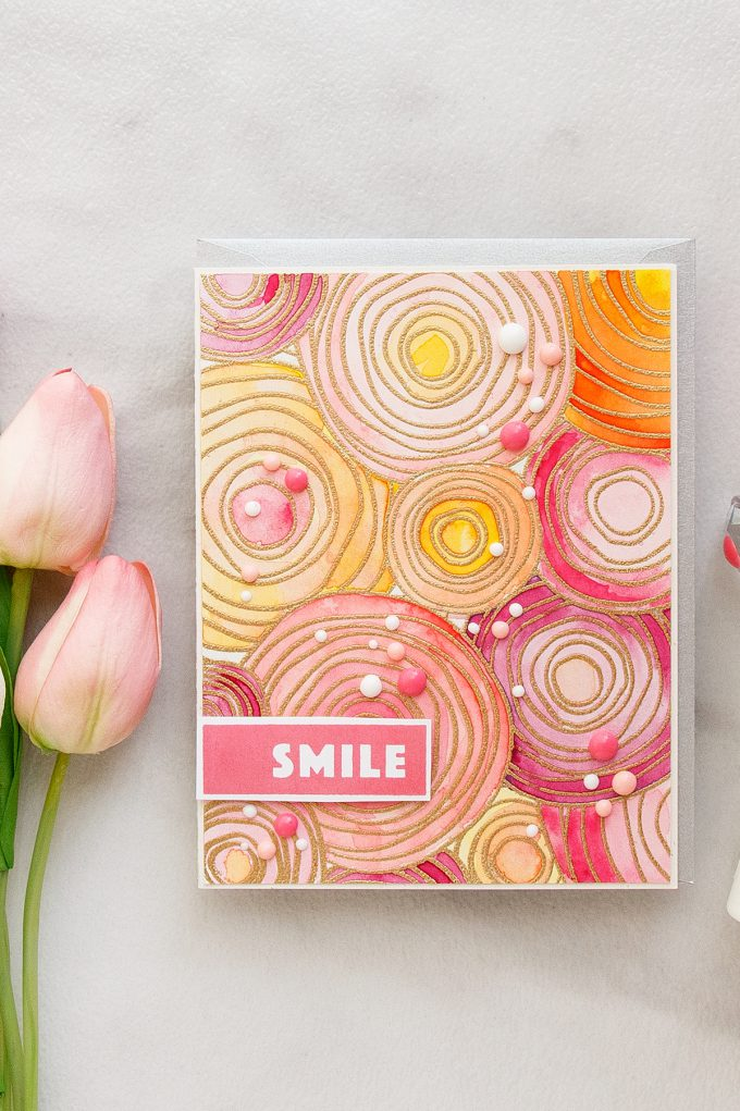 Simon Says Stamp | Bold Watercolor Flowers with Circle Doodle Stamp. Smile card by Yana Smakula