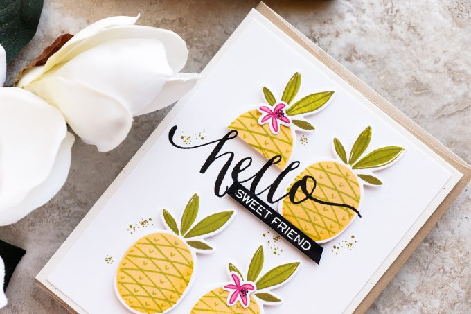 WPlus9 | Sweet Friend Pineapple Card by Yana Smakula using Summer Citrus and Hand Lettered Hello stamps. Video tutorial