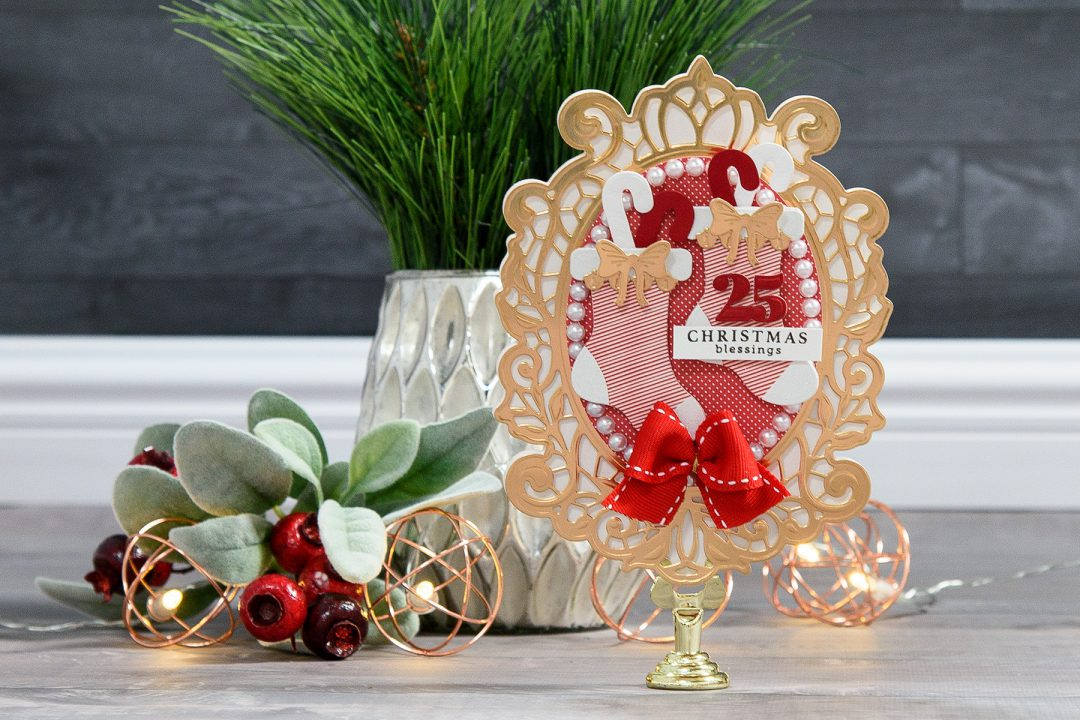 Spellbinders | Layered Dimensional Die Cutting. Episode #3 - Shaped Christmas Card. Christmas Blessings Card by Yana Smakula using Spellbinders S2-266 Ho Ho Ho, S3-272 Build a Stocking and S6-125 Victoriana Crest Dies