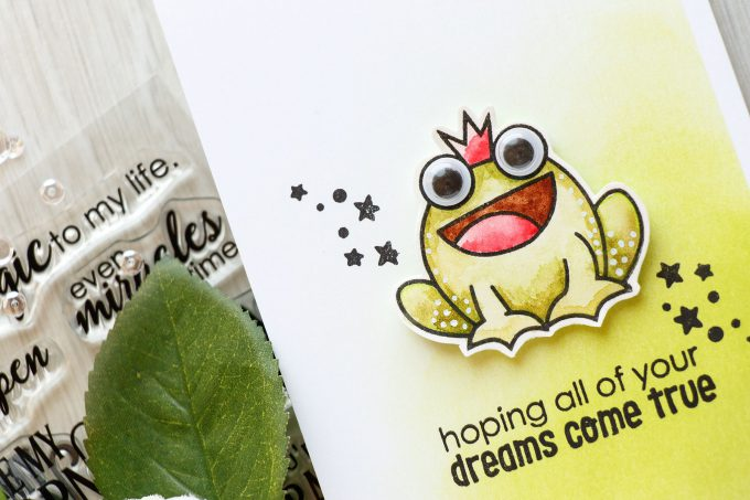 Paper Smooches | Hoping Your Dreams Come True card by Yana Smakula. Princess frog.