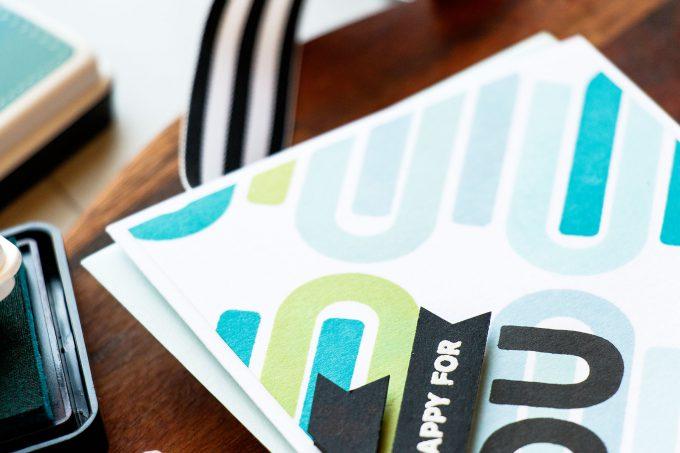 Simon Says Stamp | Stamped U Background using Big U Words stamp set. Handmade card by Yana Smakula