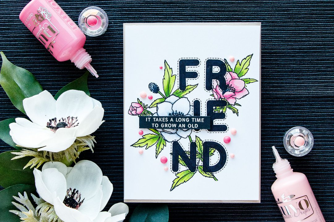 Simon Says Stamp | Outline Letters Into Solid With Copics. Video tutorial. Modern Anemones and Stitched Alphabet stamp sets. Floral Friendship card