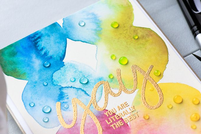 Simon Says Stamp | Watercolor Circles Background + CZ Design (Yay! You Are Literally The Best Card). Project by Yana Smakula