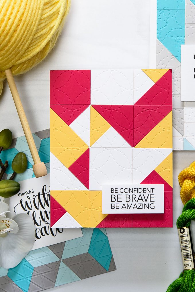 Spellbinders | Be confident Be brave project using QUILT IT dies. Die D-lites Block Quilt Etched Dies Quilt It by Lene Lok. Handmade project by Yana Smakula