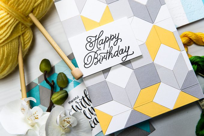 Spellbinders | Geometric Happy Birthday Card with Quilt It Dies. Star Quilt S3-288. Handmade card by Yana Smakula. #Spellbinders #cardmaking #papercrafting #diecutting