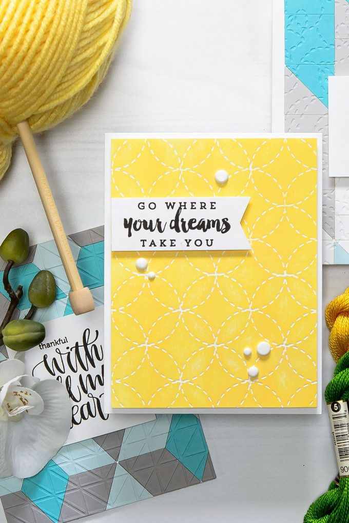 Spellbinders | Go Where Your Dreams Take You project with Quilt It Dies. Wedding Ring Stitch Em-bossing Fold'ers Quilt It by Lene Lok. Handmade card by Yana Smakula. #Spellbinders #cardmaking #papercrafting #diecutting
