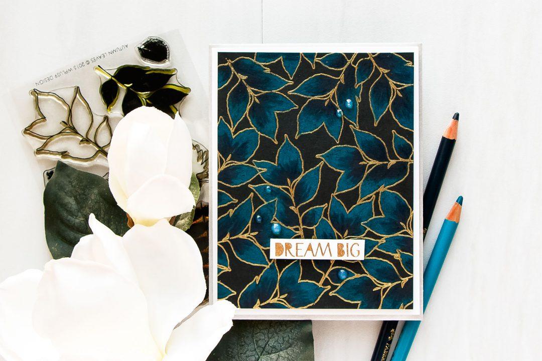 WPlus9 | Dream Big Indigo Pencil Colored Leaves Background Card