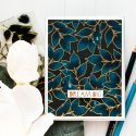 WPlus9 | Dream Big Indigo Pencil Colored Leaves Background Card