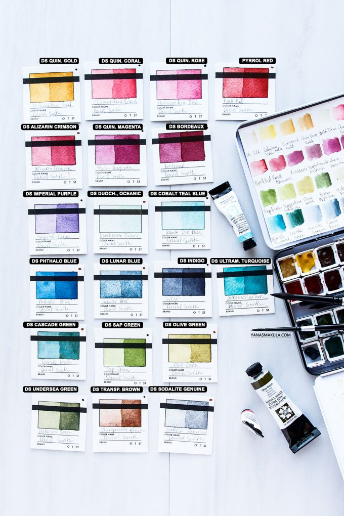 Yana Smakula | My Top 10 & Top 20 Watercolor Colors for Cardmaking #watercolor #danielsmith
