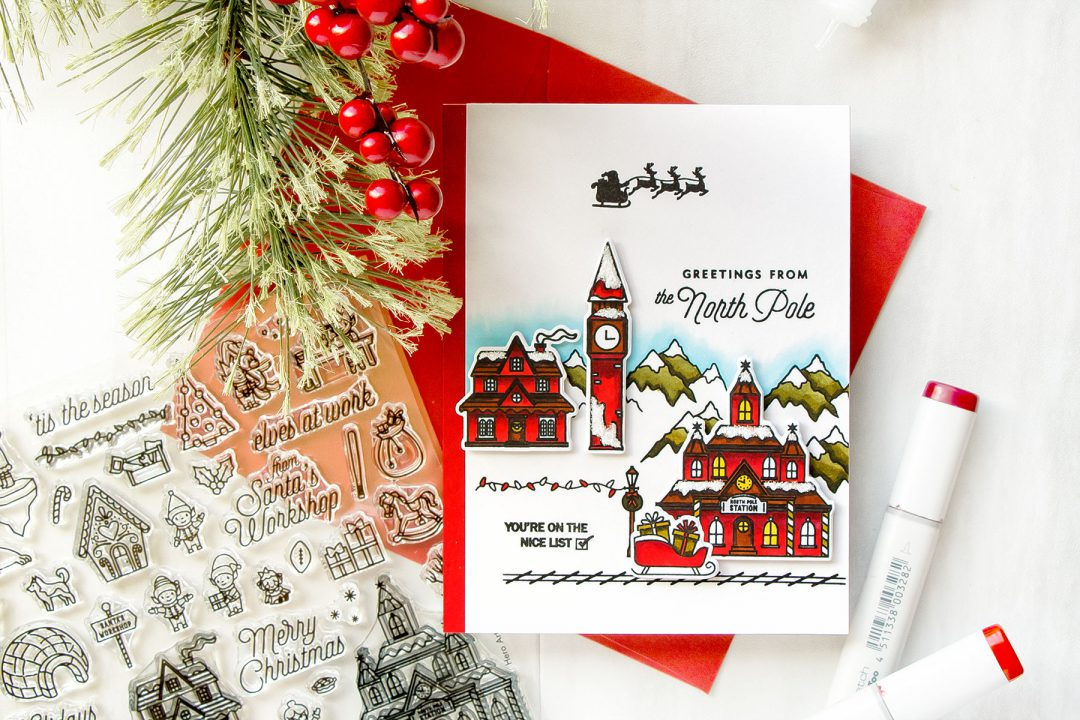 Hero Arts | Greetings From The North Pole Christmas Village Card by Yana Smakula