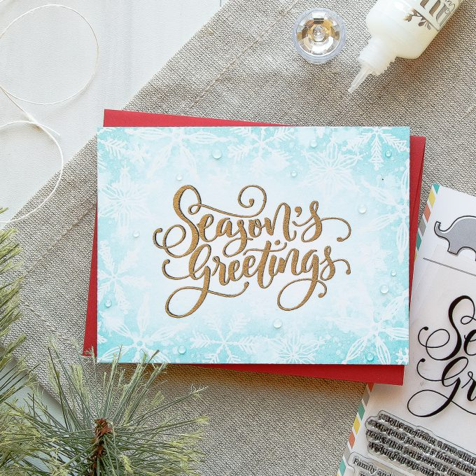 Mama Elephant | Season's Greetings Christmas Snowflakes Card by Yana Smakula