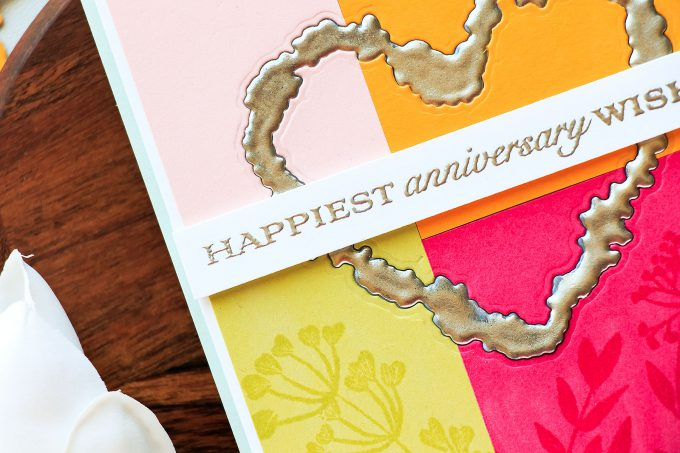 PTI | Faux Iron Embellishments With Embossing Powder. Happiest Anniversarry Wishes Color Blocked Cards by Yana Smakula using To Have & To Hold from PTI