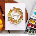 Pretty Pink Posh | Fall Leaves Watercolor Wreath card by Yana Smakula