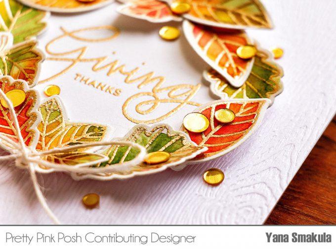 Pretty Pink Posh | Fall Leaves Watercolor Wreath card by Yana Smakula
