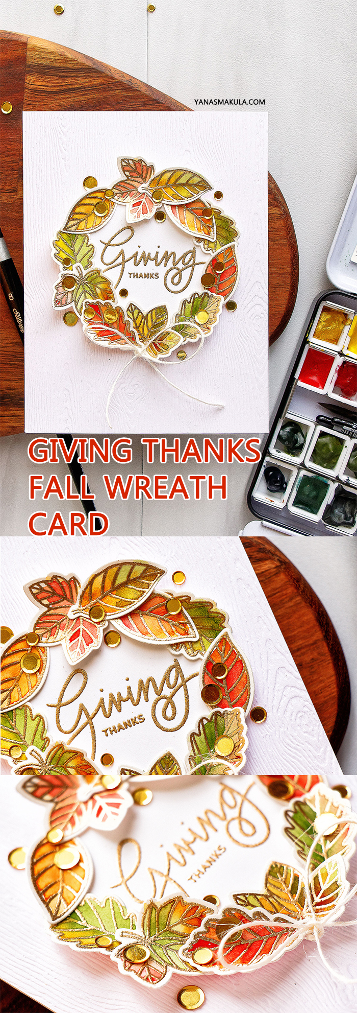Pretty Pink Posh - Happy Turkey | Fall Leaves Watercolor Wreath card by Yana Smakula