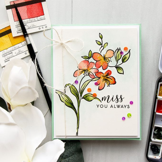 It's STAMPtember! | Altenew Exclusive - Fabulous You. Miss You Always Watercolored Card by Yana Smakula