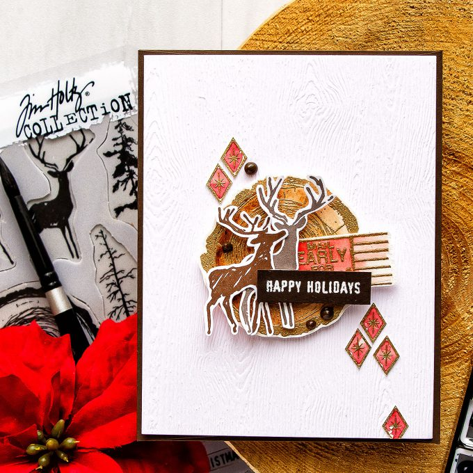It's STAMPtember! | Tim Holtz Stampers Anonymous Exclusive – Happy Holidays Card by Yana Smakula