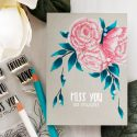 It's STAMPtember! | Studio Katia Exclusive – Blooming Trio card by Yana Smakula. Polychromos pencils colored peonies.