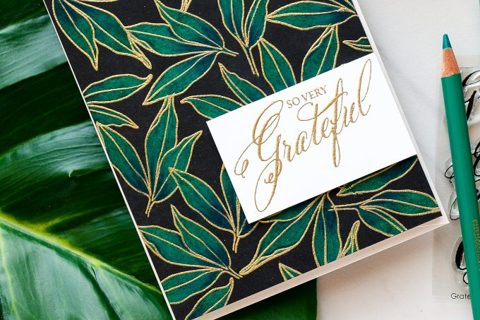 WPlus9 | Emerald Pencil Colored Background (Take Two) - So Very Grateful Card by Yana Smakula using Modern Peonies and Grateful Sentiments stamp sets.