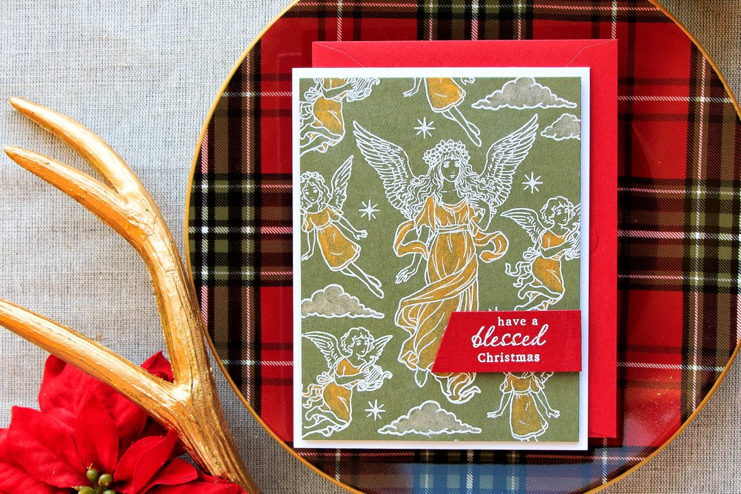 Hero Arts | Have A Blessed Christmas Card using Angles stamp set. Project by Yana Smakula
