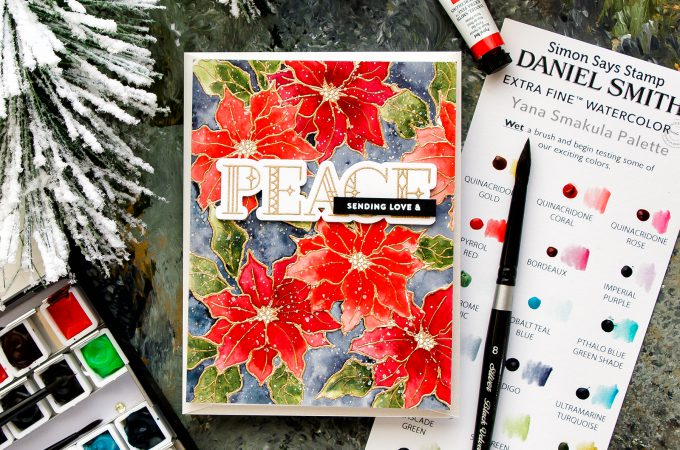 Card Making Therapy Blog Hop | Poinsettia Watercolor Background card by Yana Smakula. Video tutorial. Using Simon Says Stamp POINSETTIA stamp set