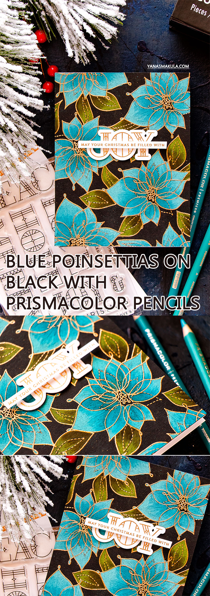 Simon Says Stamp | Blue Poinsettias on Black with Prismacolor Pencils. Simon Says Stamp Winter Flowers and Stained Glass Greetings stamps set.