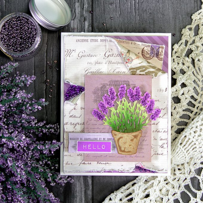 Hello Card by Yana Smakula for Spellbinders using S2-283 Lavender Planter dies