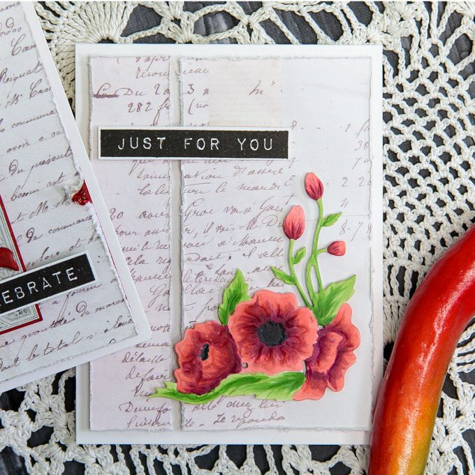 Just For You Card by Yana Smakula for Spellbinders using S3-292 Die D-Lites Corner Poppies Etched Dies
