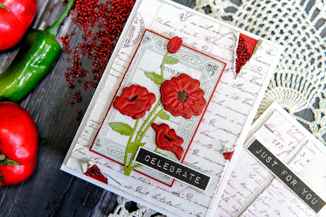 "Spellbinders | Colored Cardstock Poppies ""Celebrate"" Card by Yana Smakula. Using S4-815 Poppies Dies #diecutting #spellbinders #handmadecard"