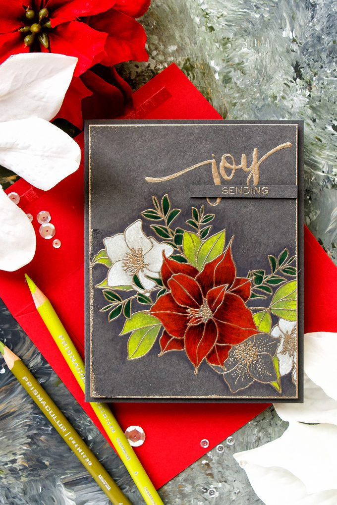WPlus9 | Pencil Colored Christmas Rose Bouquet Card by Yana Smakula. Prismacolor pencil coloring. #wplus9 #stamping #christmascard