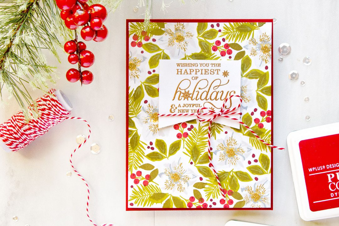 WPlus9 | Christmas Card with Stamped Hellebore Background. Video. Project by Yana Smakula for WPlus9 #stamping #wplus9 #yanasmakula