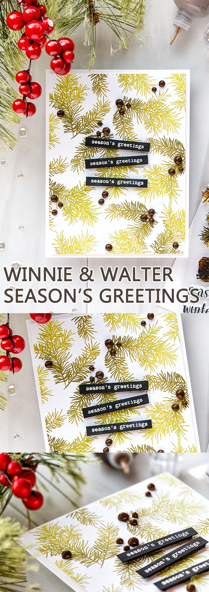 Winnie & Walter | Season's Greetings Card. World Cardmaking Day 2017 Blog Hop