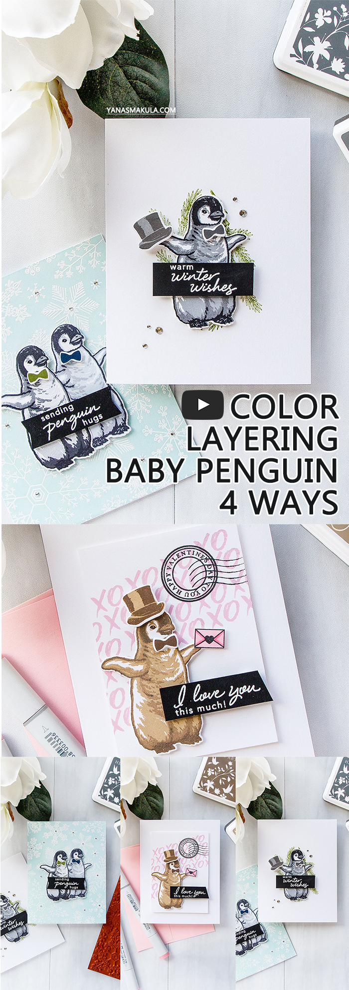 Hero Arts | Color Layering With Yana Video Series – Color Layering Baby Penguin 4 Ways
