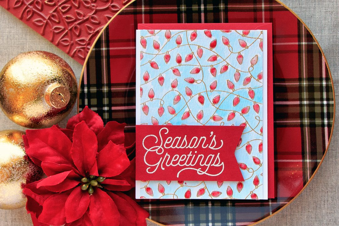 Hero Arts | Season's Greetings Card with Watercolor Christmas Lights. Project by Yana Smakula. #stamping #heroarts #christmascard