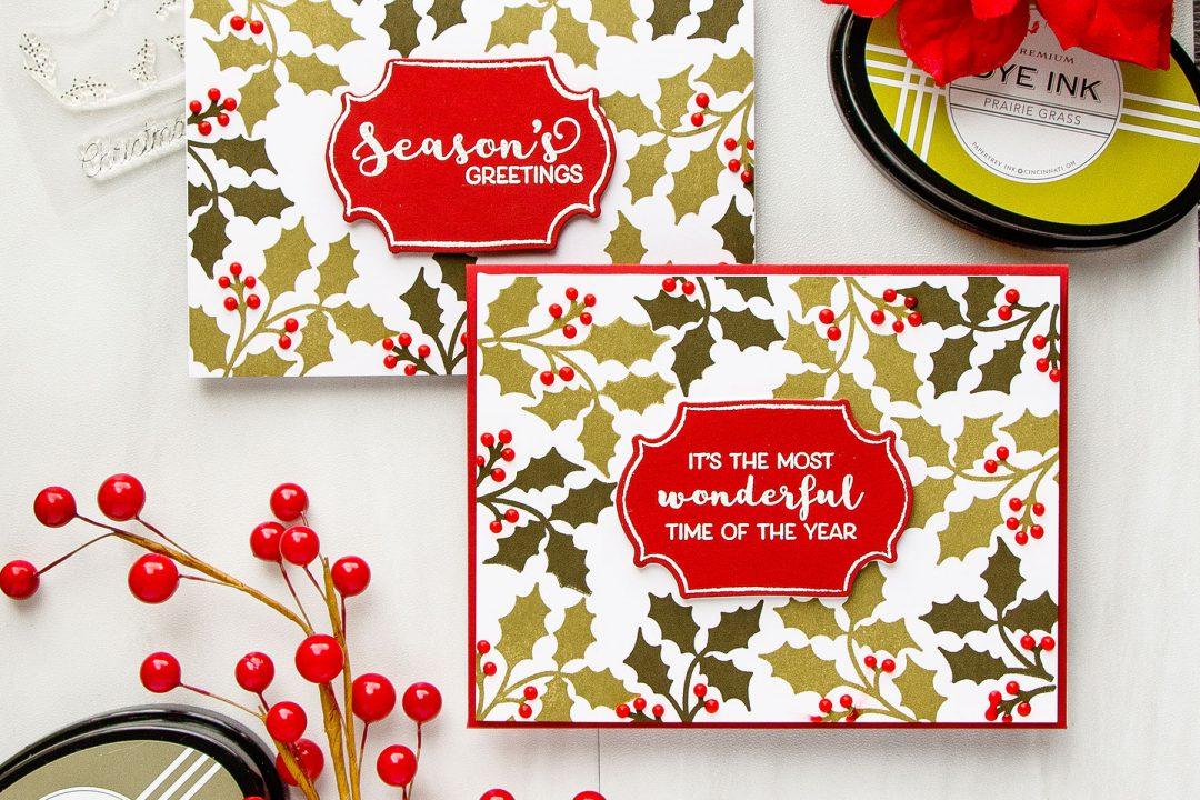 Papertrey Ink | Simple Modern (Stamped) Christmas Cards by Yana Smakula featuring Cutaway Tags: Winter Stamp Set. Video Tutorial. #cardmaking #papertreyink #christmascard