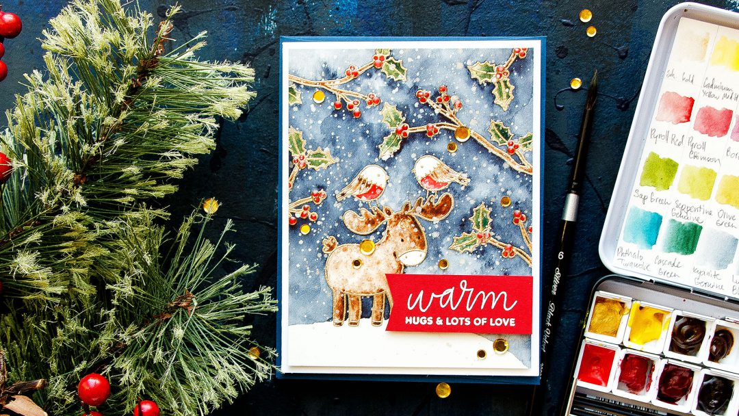 Pretty Pink Posh | Watercolor Scene Painting with Winter Woodland stamps. Video tutorial by Yana Smakula #cardmaking #prettypinkposh #stamping #watercolor #christmascard