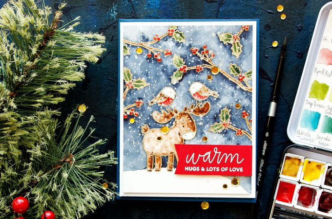 Pretty Pink Posh   Watercolor Scene Painting with Winter Woodland stamps. Video tutorial by Yana Smakula #cardmaking #prettypinkposh #stamping #watercolor #christmascard