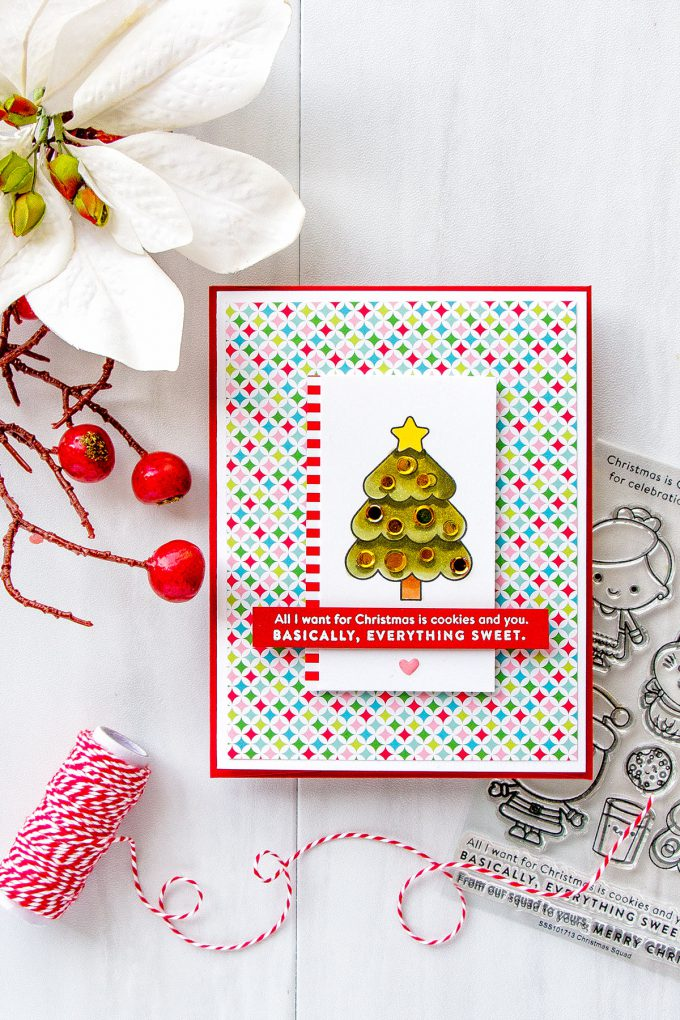 Simon Says Stamp | December 2017 Card Kit . From our squad to yours, Merry Christmas card by Yana Smakula. #simonsaysstamp #sssck #stamping #cardmaking #christmascard
